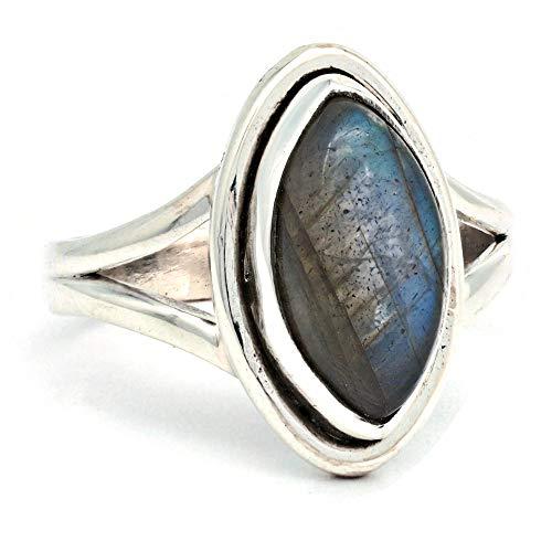 Anillo de plata de ley 925 labradorita (No: MRI 188), Ringgröße:55 mm/Ø 17.5 mm