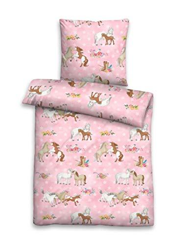 biberna 0044641 Bettwäsche Garnitur mit Kopfkissenbezug Kids & Teens Linon 1x 100x135 cm + 1x 40x60 cm, pink