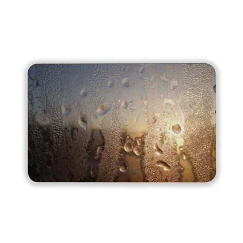 Tapete para Piso, tapetes de Bienvenida de Caucho Natural Duradero ,Frozen Water Drops on Glass,Alfombra para Interiores y Exteriores 15 by 24 Inches