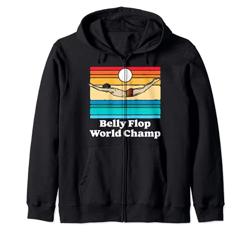 Belly Flop Champion Funny 80s Vintage Diving Swimmer Graphic Sudadera con Capucha
