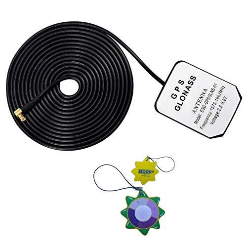 HQRP Antena externa GPS amplificada 1575.42 MHz de montaje magnético para u-blox Antena de GPS MCX (ANN-MS-2-005-0) / LEA-LA Módulo de receptor GPS / LEA-LA-0-000-0 + HQRP medidor del sol