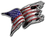 New Tattered Waving USA American Flag Vinyl Decal Army Navy Military Country Stickers Car Truck 4' x 7'