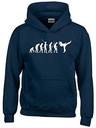 Mädchen Karate KICKBOXEN Evolution Kinder Sweatshirt mit Kapuze HOODIE navy-weiss, Gr.164cm
