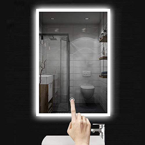 Espejo de baño LED 60 x 80 cm, espejo de baño con iluminación blanca fría, espejo de pared con interruptor táctil