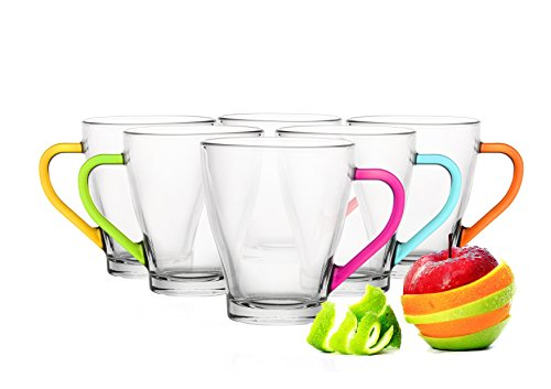 Sables & Reflets 6 Tasses en Verre Café, Café Latte, Cappuccino, Mix Color 6 Couleurs 200 ML