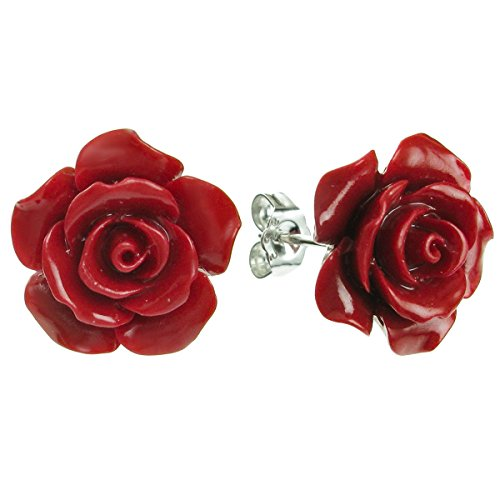 Orecchini in argento Sterling color corallo simulato a forma di rosa, da 15 mm, chiusura a farfalla e argento, colore: Red, cod. QE1122-227X2
