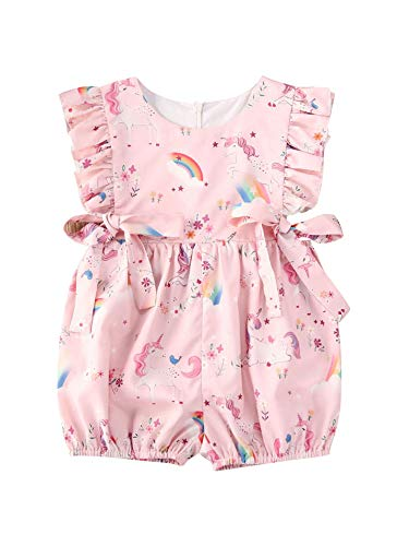 Traje de bebé de color rosa con cuello redondo sin mangas con lazo de encrespado con impresión floral de unicornio, traje de fotografía, fiesta de cumpleaños Rosa 18-24 Meses