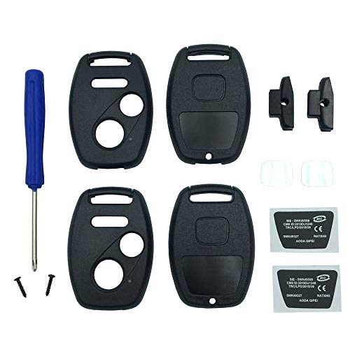 Key Fob Shell Case Fit for Honda 2003-2007 Accord 2005-2006 CR-V CR-Z Crosstour Civic Odyssey Fit 3 Buttons Keyless Entry Remote Replacement Car Key Housing (Black pack 2)
