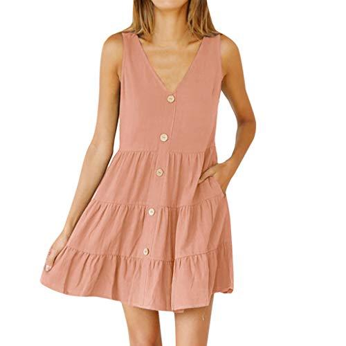 Frauen sommer v-ausschnitt ärmelloses sexy dress einfarbig taste rüsche mode dress polyester tasche casual komfort dress (S, Pink)