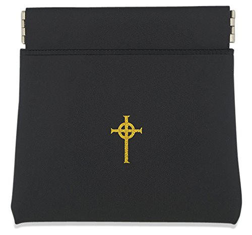 Good Shepherd Creations Coin Purse Style Rosary Pouch with Celtic Cross (Black)