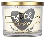 Aromascape PT41466  'with Love' 3-Wick Scented Candle (Fresh Lavender, Cotton Blossom and Vanilla), 11-Ounce