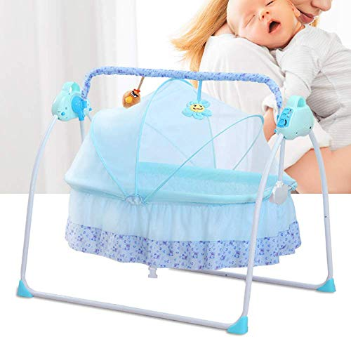 Electric Baby Cradle Swing Bassinet Baby Crib Cradle Infant Rocker with Music Remote Control Auto-Swing Bed Baby Cradle Sleeping Basket Bed Cot + Mat (Blue)