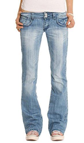 bestyledberlin Damen Jeanshosen, Hüftige Regular Fit Jeans, Basic Boot-Cut Jeans j06x 38/M