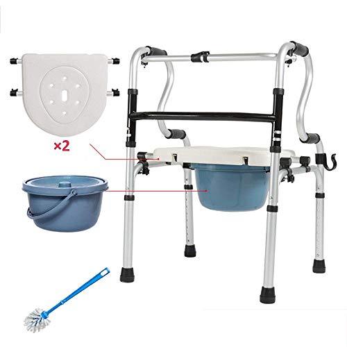 ZXL Opvouwbaar loopframe voor ouderen, verstelbare hoogte, 8 mappen, lichtgewicht en draagbaar, met stoel, pot en borstel