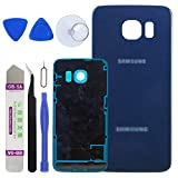 LUVSS New Back Glass Replacement for [Samsung Galaxy S6 Edge] G925 (All Carriers) Rear Cover Glass Panel Case Door Housing with Opening Tools Kit (Blue)