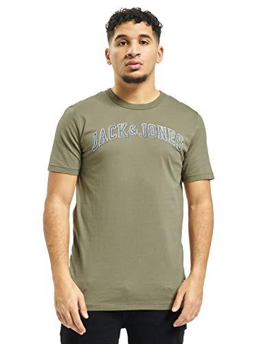 Jack & Jones Premium Jprlogo Blu. Tee SS Crew Neck Pre T-Shirt, Vert (Dusky Green Fit: Slim), Large Homme