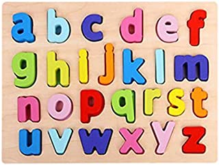 ABC Flash Cards ABC Puzzle Digital Wooden Toys Early Learning Jigsaw Letter Alphabet Number Puzzle Preschool Educational Baby Toys for Children