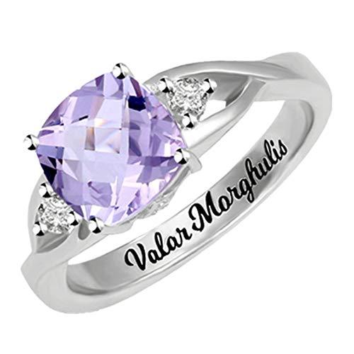 Custom Word Ring Square Birthstone Ring Women'S Ring Cross Ring Sterling Silver Ring Romantic Ring(Silver W 1/2)