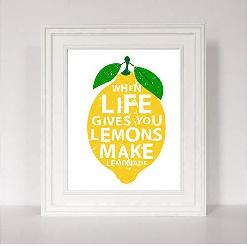 Moderne keuken decor canvas schilderij als het leven geeft u citroenen maken limonade citaten kunst poster wandschilderij voor de woonkamer 21X30CMX1 zonder lijst