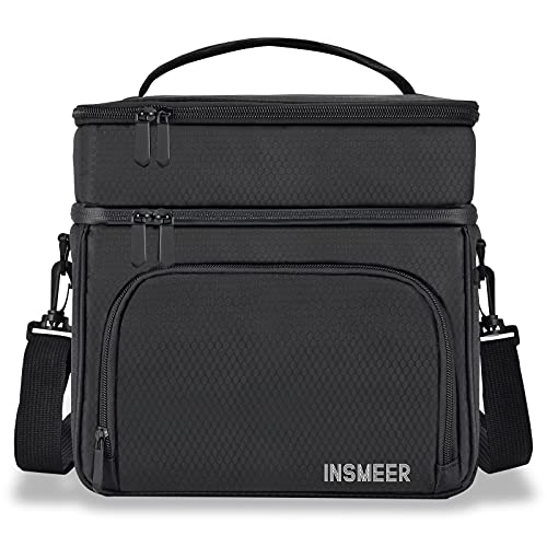 2 Decks Large Lunch Bag for Women/ Men, 16L Lightweight Lunch Box Lunch Cooler Leakproof Insulated, with Waterproof Zipper/Shoulder Strap for Work, Office, School, Outdoor, Picnic, Kids (Black)
