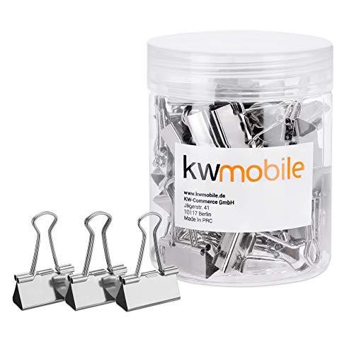 kwmobile 50x Foldback Klammern Set - 50x 19mm - Vielzweckklammer Büro Dokumenten Clips - Metall Maul Klammer Klemmen in Silber