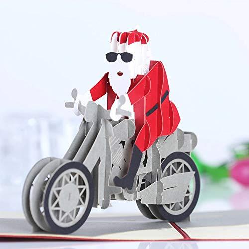 VIOYO 1 PCS Tarjetas navideñasRide a Motorcycle Tarjetas emergentes con sobre Tarjetas de felicitación de año Nuevo Regalos Hechos a Mano
