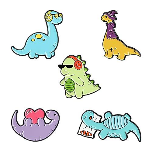 ELIUNG Broches en émail en forme de dinosaure Kawaii pour vestes, vêtements, sacs, sacs à dos, épingles, épingles, badges, animaux de dessins animés, dinosaures en émail