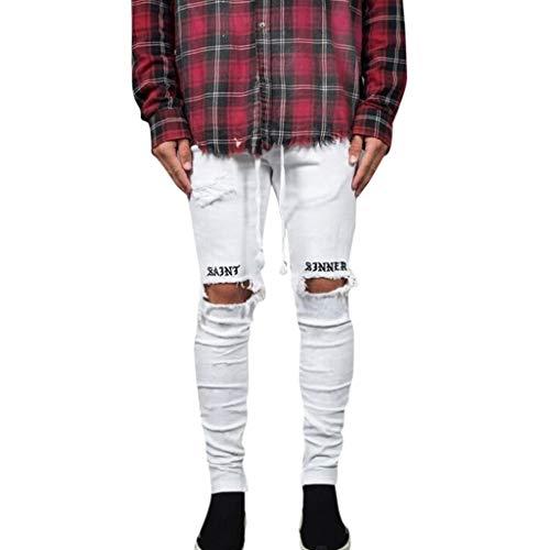 Jeans Straight Uomo Pantaloni Sportivi Pantalone Yoga Pantalone Tuta Pantaloni Yoga Pantaloni Tuta Pants Yoga Pants Sportivi Pantalone Slim Fit Jeans Uomo (XL,Bianca)