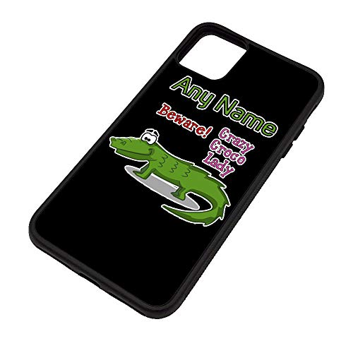 Unigift - Cover in TPU per iPhone 11 Pro Max con scritta in inglese 'Crazy Croco Lady' (motivo a slogan animali), personalizzabile