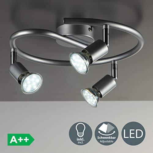 B.K.Licht - Lámpara de techo con 3 focos LED GU10, focos ajustables y giratorios para interiores, de luz blanca cálida , 3W y 250 lúmenes, 3000K, forma de anillo, color titanio