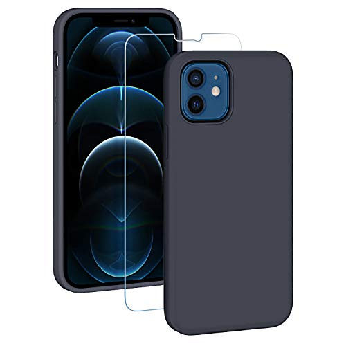 EasyAcc Hülle Silikon Case Kompatibel mit iPhone 12 Mini, Dünn und Weich Handyhülle Tasche Cover mit Microfaser Futter Stoßfest Fallschutz Schutzhülle–Navy blau