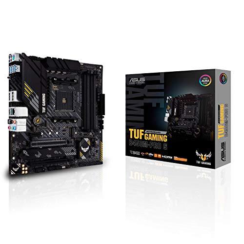 ASUS TUF Gaming B450M-PRO S Placa Base Gaming Micro ATX AMD B450 (AM4), Doble M.2, 10 etapas de Potencia DrMOS, 2,5 GB LAN, HDMI, DP, AI Mic, USB 3.2 Gen 2 Type-A y Type-C, Aura Sync RGB.