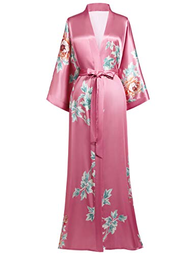 Coucoland Damski szlafrok maksimum długi lato kimono sukienka plażowa klasyczny wzór kwiatowy nadruk kurtka dzianinowa kimono płaszcz kąpielowy damski długi fok kwiaty Pajama Party
