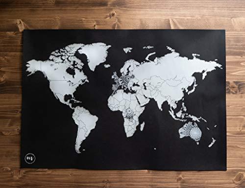 Rubbel Weltkarte im Mandala Design (Schwarz/Silber) - Scratch Map mit Mandalas - Wandposter - Weltkarte zum Freirubbeln - Geschenkidee für Weltenbummler - Hippie Poster