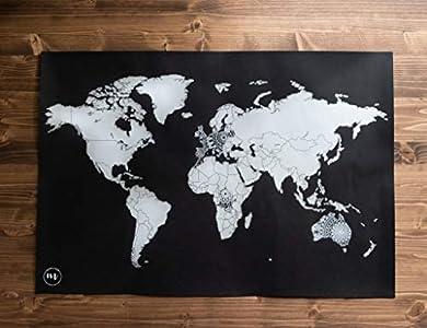 Mapa mundi rascar en diseño mandala negro y plata - Mandala Maps - Mapa para marcar viajes - Mapa rascar