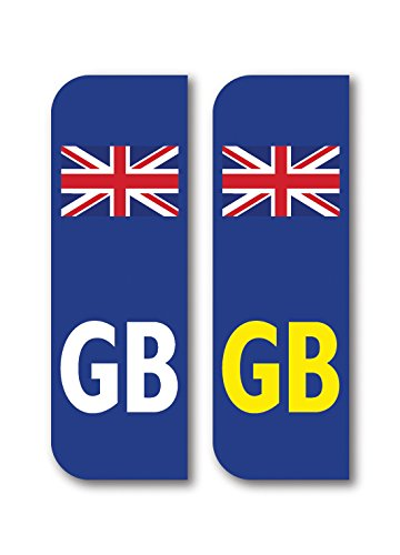 Landing Designs 2 x GB Union Jack British Flag Car Number Plate vinyl stickers