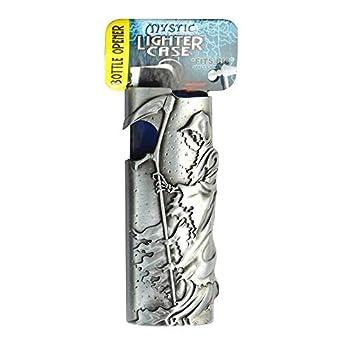 Metal Lighter Case for BIC Lighters Lighter Protector and Bottle Opener - Grim Reaper Design