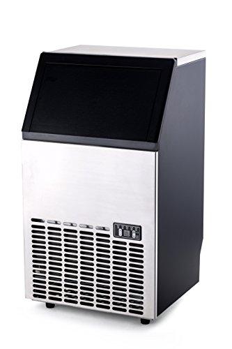 HENDI Eiswürfelbereiter, Eismaschine, Eiscrusher, Eiswürfelmaschine, Inkl. Zufuhrschlauch und Eiswürfelschaufel, 13, 16 Minuten Zyklus 45 Eiswürfel, 230V, 300W, 448x400x(H)798mm, Polypropylen