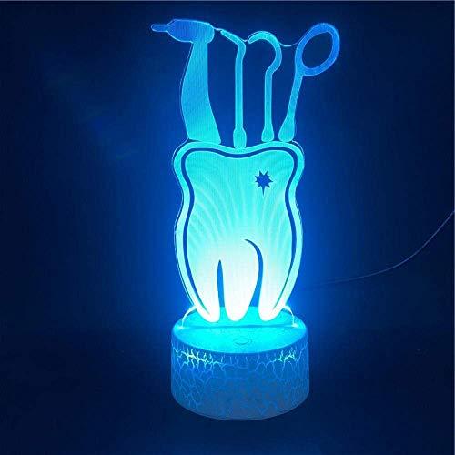 Festival Lámpara de Ilusión 3D Luz de Noche Led Lindo Regalo de Dientes Dentales Colorido con Base Removida Lámpara de Escritorio Sensor Táctil Decoración de la Habitación Lámpara para Dormir Regalo P