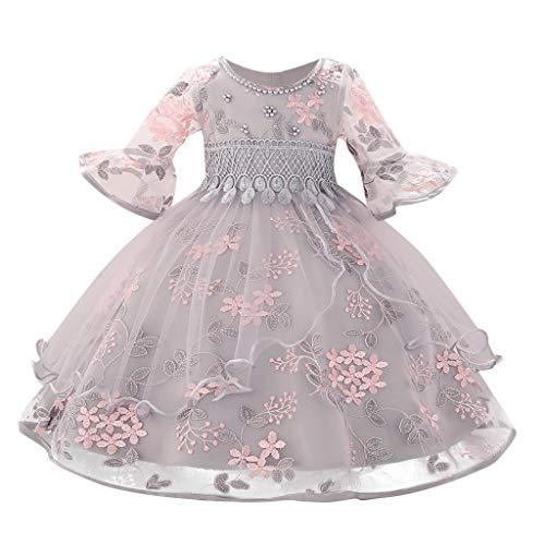 Allence Kinder Mädchen Spitze Rüschen Ärmel Stickerei Kleid Grau/Rosa Party Kleid Sommerkleid, Urlaub Strandkleid für 2-6 Jahre