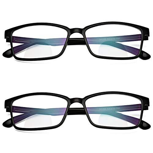 ProudDemon Gafas de Lectura de Bloqueo de Luz Azul Lentes Antirreflejos 2 paquetes Gafas para Ordenador Gaming PC para Hombre Mujer