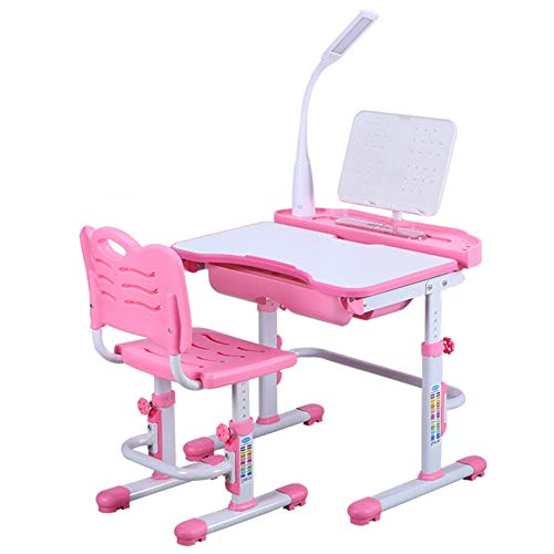 MOOLO 80cm X 60cm Large Height Adjustable Kids Desk Chair with LED Lamp Bookstand Ergonomic Children Table and Chair - Sprite with Lamp(Color:Cute Pink with lamp)
