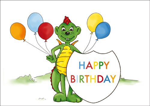 Verjaardag vouwkaart met Happy Birthday voor kinderen met kleine draken dinolino en ballonnen • ook voor directe verzending met hun tekst inlegger • mooie wenskaart voor verjaardag met envelop zakelijk & privé