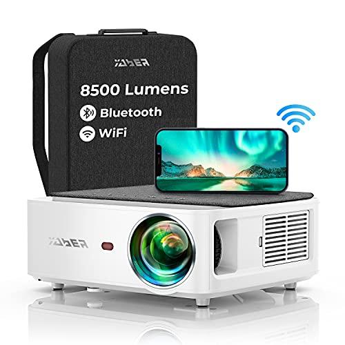 Vidéoprojecteur WiFi Bluetooth Full HD 1080P, YABER V6 9000 Lumens Projecteur WiFi Portable Soutiens 4K, Correction Trapézoïdale à 4 Points, Zoom -54%, Rétroprojecteur Home Cinéma & Présentation PPT