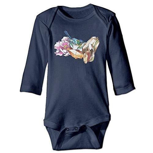 Body de manga larga para bebé con diseño de pájaros y cristales para bebé, color azul marino