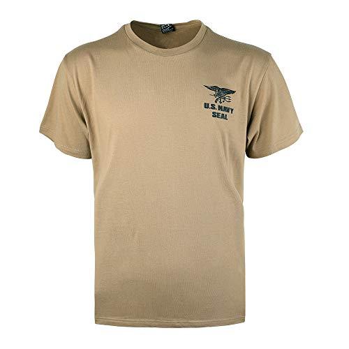 Camiseta de manga corta para hombre de Excellent Elite Spanker, estilo informal, diseño del ejército estadounidense Kojote marrón. S