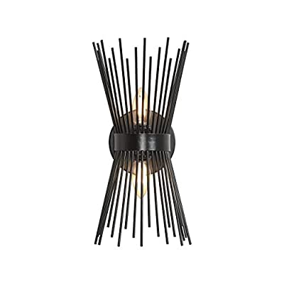 Loclgpm 2 Light Wall Sconce, Modern Black Wall Lamp with, Industrial Vanity Light Fixture for Bathroom Farmhouse Hallway