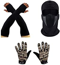 SPENCA Camo Unisex Dotted Gloves_Soil_with Helmet Bandana_with Black Sleeves_Black_Free Size