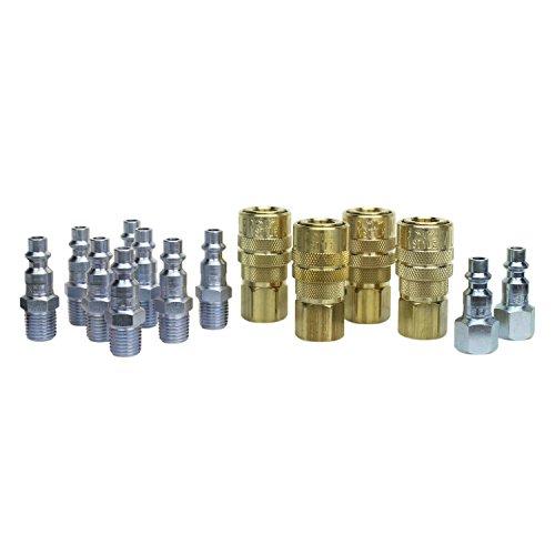 Milton M Style Air Fitting Kit S-210-14, Brass Kwik Change Couplers, Case Hardened Steel Plugs, 40 SCFM, 300 PSI Max Pressure, 1/4 NPT, Includes 4 Female Couplers, 8 Male Plugs, 2 Female Plugs