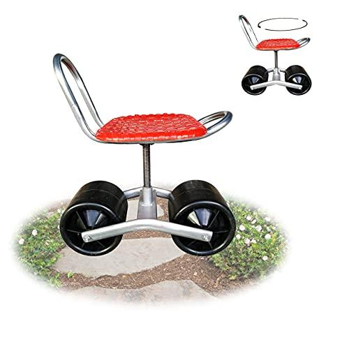 JUDIG Gartengeräte,rollsitz Für Gartenarbeit, 360 ° Drehbarer Gartenhocker, Rollwagen Gartenhelfer. Bis 180kg Belastbar Gartenwagen Fahrbar.Gartenhelfer Sitzwagen.